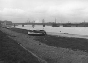 Walney Channel from south Vickerstown, looking toward the Iron and Steelworks.