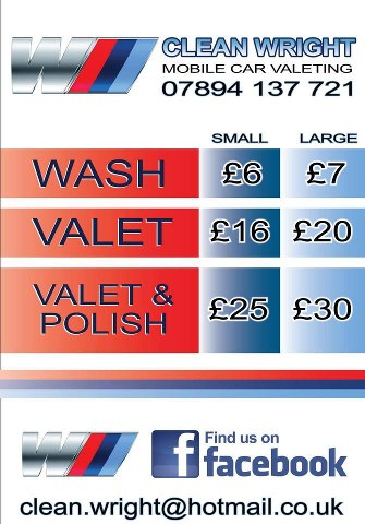 """Is your car in need of a spring clean?  Then why not give Cleanwright Mobile Car Valeting a shot.  This is the guy that keeps my van so spotless. He won't use harsh chemicals like the other """"handwash"""" places. What's more he comes to your house and will even bring his own water."""